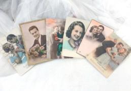 Lot de 6 cartes postales vintages de couple