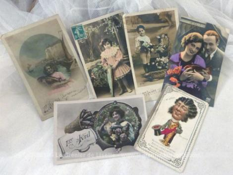 Lot de 6 cartes postales anciennes 1er Avril.
