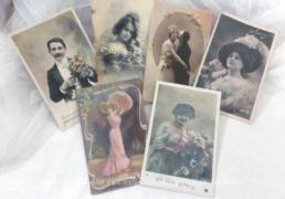 Lot de 6 cartes postales anciennes sur la tendresse