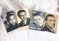 Lot de 4 photos d'anciennes célébrités, Gilbert Becaud, Danny Boy, Pierre Jourdan et celle de Maria Casares dédicacée.