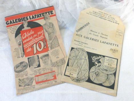 """Ancien catalogue """"Blanc"""" des magasins """"Aux Galeries Lafayette"""" datant du début des années 30."""