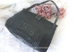 Ancien sac vintage en cuir de peau de crocodile.