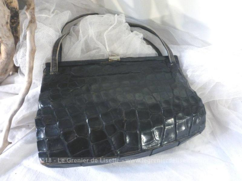 ancien sac vintage en cuir croco le grenier de lisette. Black Bedroom Furniture Sets. Home Design Ideas