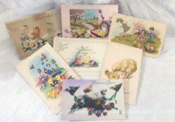 Lot de 7 cartes postales anciennes fleurs Joyeuses Pâques