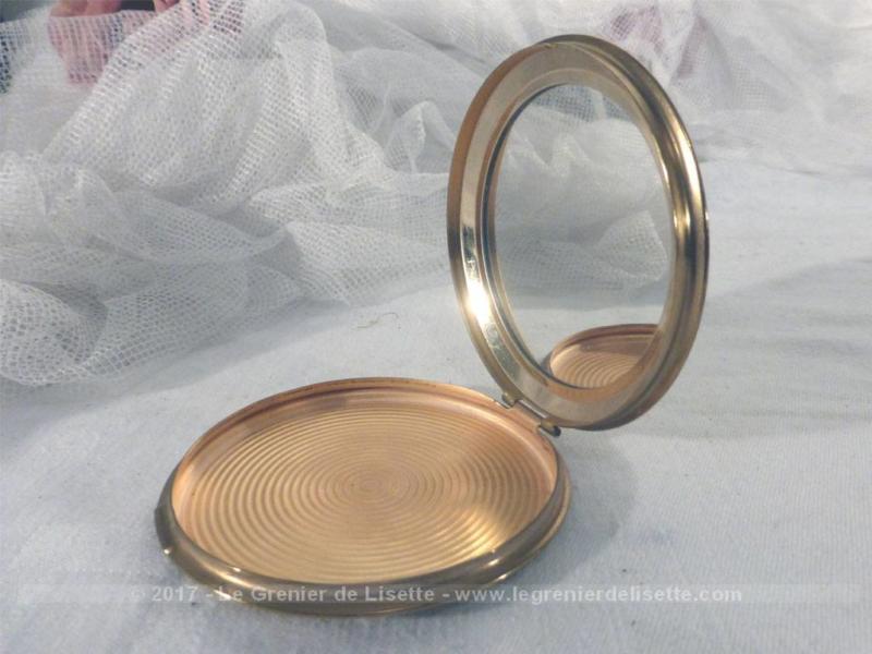 Ancien poudrier rond miroir main m tal dor le grenier - Miroir rond dore ...