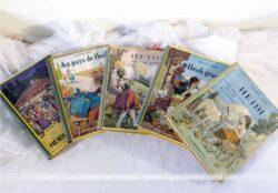 "érie de livres Heidi de Johanna Spyri datant des années 30. Il y a ""Heidi"", ""Au pays de Heidi"", ""Heidi grandit"", ""Heidi jeune fille""et ""Heidi grand-mère""."