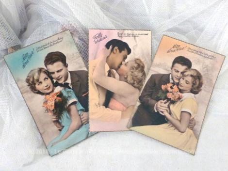 Lot de 3 cartes postales vintage des années 50 représentant des couples