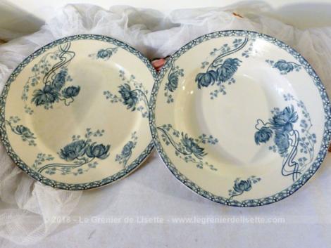 Duo d'assiettes, une plate et une creuse du modèle Royat aux beaux dessins bleus, sorties des faïenceries de Sarreguemines D et C .