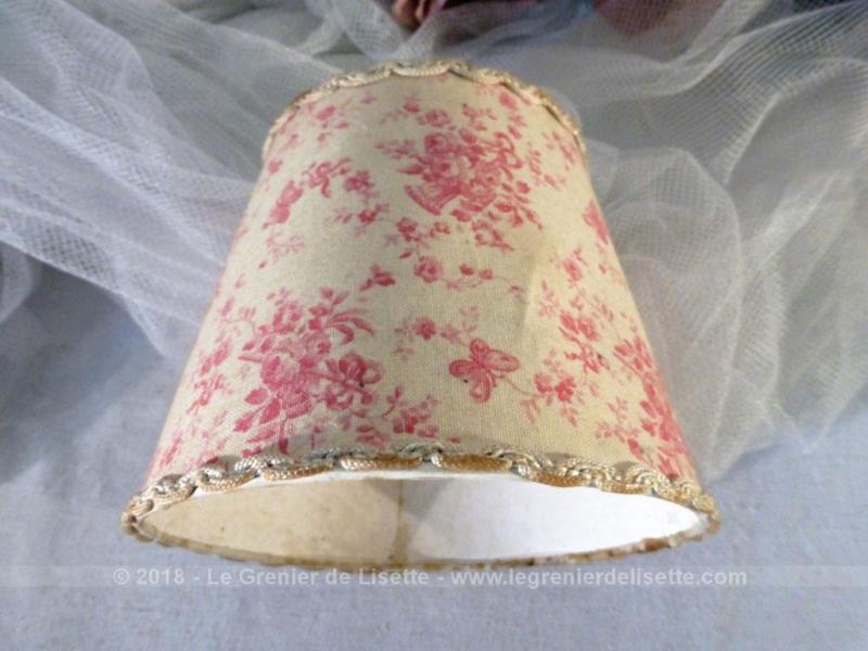 ancien abat jour tissus shabby pour ampoule le grenier de lisette. Black Bedroom Furniture Sets. Home Design Ideas