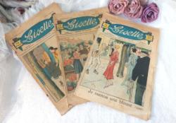 """Lot de 3 anciennes revues de """"Lisette"""". Le numéro 35 de 1931 et les numéros 1 et 6 de 1932."""