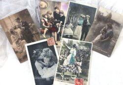 Lot de 6 cartes postales anciennes sur la famille.