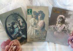 Lot de 3 anciennes cartes postales fillettes Bonne Fête de 1910.