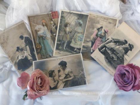 Lot de 6 anciennes cartes postales portraits costumés datant du début du siècle dernier.