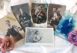 Lot de 6 anciennes cartes postales de portrait d'hommes datant du début du siècle dernier.