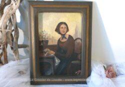 """Ancien et touchant tableau peint à la main. C'est une copie du seul tableau représentant """"Madame Bovary"""" peint par Court et exposé au Musée de Rouen."""