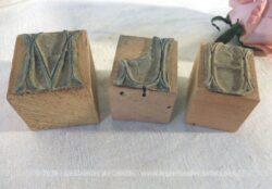 Lot de 3 tampons monogrammes M, H et L pour broderies.