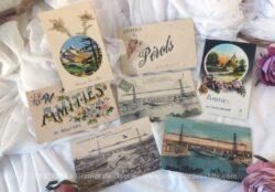 Lot de 7 anciennes cartes postales souvenirs de villes. Il y a Chaumont, trois de Marseille, Belfort, Pérols et une des Alpes.