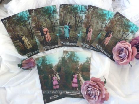Voici une série datée de 1921 de 7 cartes postales différentes mais représentant toutes un couple d'amoureux qui s'enlace