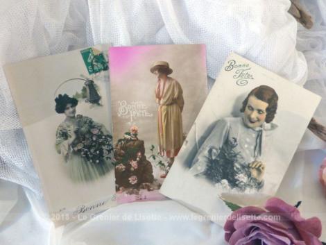 Lot de 3 anciennes cartes postales de femme Bonne Fête debut XX°.