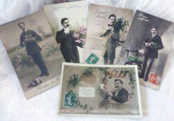 Lot de 6 cartes postales anciennes d'hommes en habit de soirée et de fête, pour souhaiter une Bonne Année et datant toutes du début du siècle dernier.