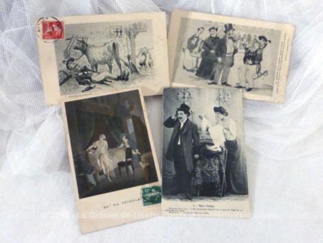 Lot de 4 anciennes cartes postales humoristiques, sous forme de dessins et datant du début des années 1900.