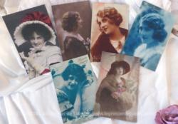 Lot de 5 cartes postales anciennes représentant des portraits de femmes du début du XX°.