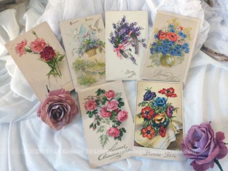Six anciennes cartes postales de fleurs avec les mentions Bonnes Fêtes datant du début et de la moitié du XX°.