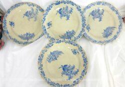 Voici quatre assiettes aux liserons FF Pexonne de la fin du XIX°, décorées de liserons sous forme de frise sur toute la bordure plus trois petits bouquets sur l'intérieur.