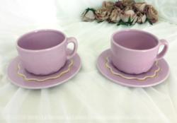 Tête à tête étoilé rose shabby avec ses 2 tasses et sous-tasses assorti.