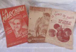 Trois anciennes partitions de grands succès des années 40/50.