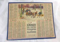 """Ancien almanach des Postes et Télégraphes de 1948 sur papier cartonné, avec dessin """"Cueillette du bois dormant"""". Deux feuillets supplémentaires."""