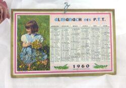 Petit almanach cartonné des PTT de 1960, mesurant 20.5 x 13 cm avec un semestre sur chaque face.