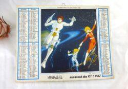 """Ancien almanach des Postes et Télégraphes de 1982 sur papier cartonné recto/verso, avec la photo """"Capitaine Flam"""" et 10 feuilles intérieures."""