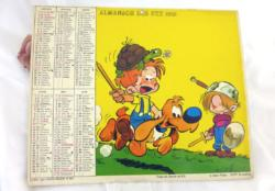 """Ancien almanach des Postes et Télégraphes de 1982 sur papier cartonné recto et verso, avec deux photos de """"Boule et Bill"""" et 8 feuilles intérieures."""