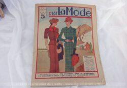 Revue C'est la Mode du 17 mars 1935 sur 32 pages avec des modèles de jupes, de blouseset des explications pour des travaux de broderies.
