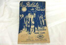 Ancienne partition Aux Reflets de Paris, paroles de Ph. Goudard et musique de Mario Cazes, copyright de 1924. C'est une valse populaire,