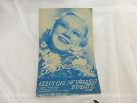 Ancienne partition Celui qui ne viendra jamais avec Elyane Celis, paroles de Marcel Delmas et musique de Léo Poll.