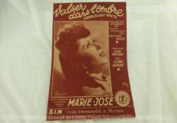 Ancienne partition Valser dans l'Ombre paroles de Louis Poterat, chantée Marie-José avec des arrangements de Cédric Dumont.