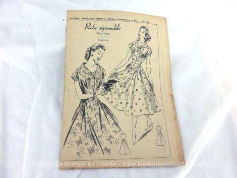 Patron Robe Séparable de Femmes d'Aujourd'hui 1956 numéro 576. Il s'agit d'un modèle de robe, comprenant blouse et jupe. Taille 44. Trop vintage .