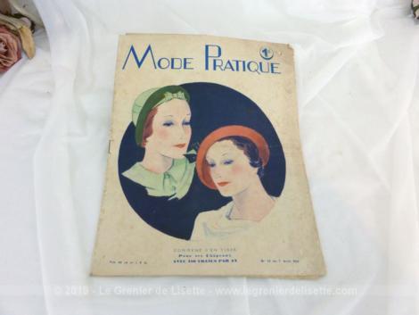 Revue La Mode Pratique du 7 avril 1934 numéro 14 sur 20 pages avec des modèles de robes, chapeaux et de patrons. Tout le charme de la mode de l'avant guerre
