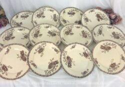 Lot de 4 assiettes plates, creuses et dessert Sarreguemines Royat de couleur sépia. soit 12 assiettes. C'est un modèle avec une frise sur le pourtour et des dessins de pivoines .