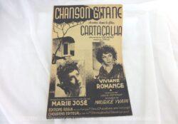 Ancienne partition Chanson Gitane enregistrée par Marie-José et chantée dans le film Cartacalha avec Viviane Romance, paroles de Louis Poterat et musique de Maurice Yvain.