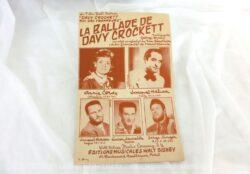 """Ancienne partition """"La Ballade de Davy Crockett"""" tirée du film de Walt Disney """"Davy Crockett, roi des Trappeurs"""", paroles de Francis Blanche et chanté par Annie Cordy."""