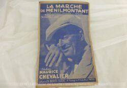 Ancienne partition La Marche de Ménilmontant, paroles de Maurice Chevalier et Vandair, musique de Ch. Borel-Clerc. Chanson chantée par Maurice Chevalier.