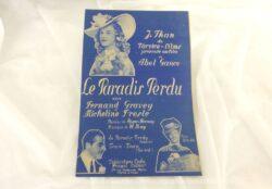 """Ancienne partition d'une valse extraite du film """"Le Paradis Perdu"""" avec Fernand Gravey et Micheline Presle avec copyright de 1940."""