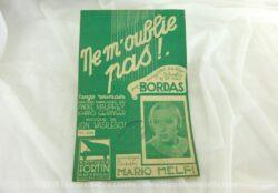 """Ancienne partition chanson """"Ne m'oublie pas"""", tango roumain enregistré sur disque Columbia par Bordas. Copyright 1934."""