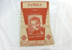 """Voici une ancienne partition de la chanson """"Patrika"""" de Roger Varney, copyright de 1945, enregistrée à la Société Editions Musicales Bourcier."""