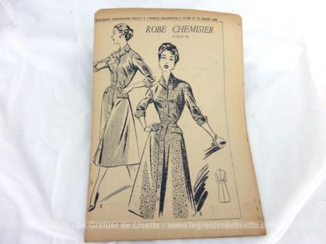 Patron Robe Chemisier de Femmes d'Aujourd'hui 1956 numéro 559. Il s'agit d'un modèle de robe à manches longues avec ceinture. Taille 40. Trop vintage .