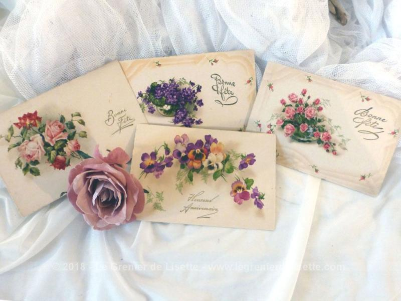 VENDU - Quatre anciennes cartes postales de fleurs - Le Grenier de Lisette