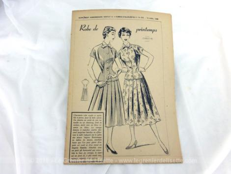 Patron Robe de Printemps de Femmes d'Aujourd'hui 1958, taille 40, robe composée d'un haut boutonné jusque sur les hanches et un bas ample et évasé.